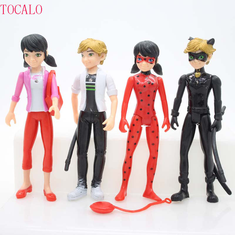 4pcs/lot 14*5.5cm Lighting PVC Miraculous Ladybug Adrien Noir Agreste Cat Action Figure Model Toys Kids Gift With Opp Bag