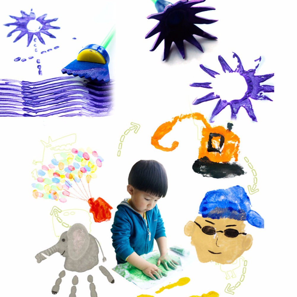 4pcs/set DIY Painting Tools Drawaing Toys Flower Stamp Sponge Brush Set Art Supplies For Kids