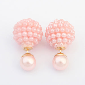 5 Colors Brand Double Side Imitation pearl fashion earring Trendy Cute Charm Pearl Statement Ball Stud earrings for women