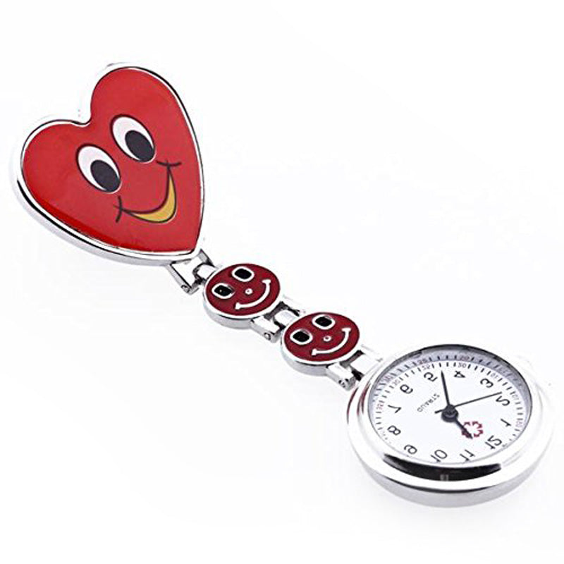 5 Colors Nurse Pocket watch Simple Mini Clock Lovely Heart Smile Face With Medical Nurses Quartz Watches High Quality LL
