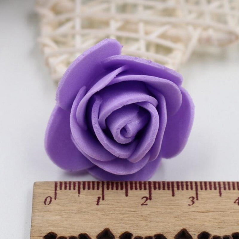 50pcs 19Colors 3cm Small Mini Roses Foam Artificial Flowers For Wedding Festive Decoration Handmade Pompom DIY Craft Accessories