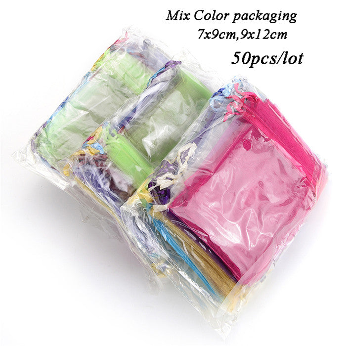 50pcs 7x9 9x12 10x15 13x18cm Organza Bags Jewelry Packaging Bags Wedding Party Decoration Favors Drawable Gift Bags & Pouches