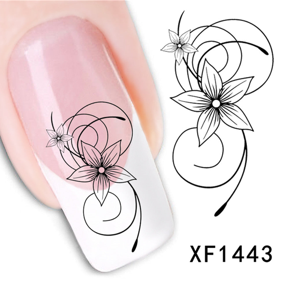 50pcs Promotions Nail Art Stickers Flower Long Vine Black Lace Decals Decorations Manicure DIY Styling Wraps Tools XF1422-1469