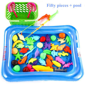 50pcs/Set New Fish Pond Game Magnetic Fishing Pole Rod 3D Fish Model Baby Bath Toys Outdoor Fun Kids Toy + Pool + Small Inflator