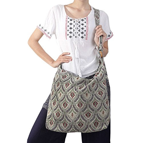 Rita & Risa Women's Bohemian Hippie Rectangle Shape Cross Body Handbag (Ivory)