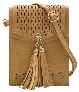 OLIVIA K Womens Cute Mini - Tribal Theme - Crossbody Purse Wallet Pouch Bags - Tassel, Vintage, Soft, Casual