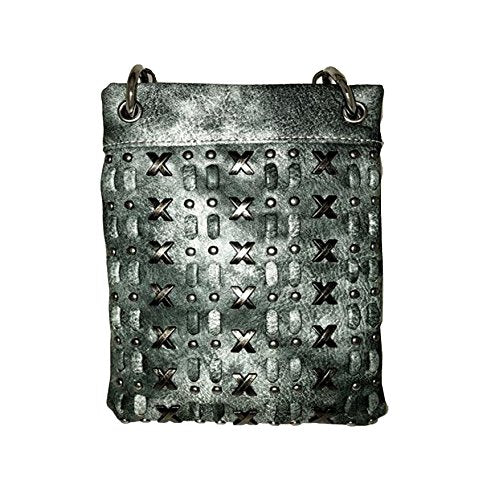 "Crossbody Handbags for Women - SPARKLY SILVER - Small Designer Bags - TURQ 6"" x 8"" x 1"""