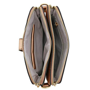 Double Compartment Small Crossbody Bag (Rose Gold)