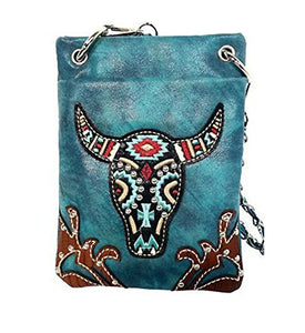 "Crossbody Bags for Women - LONGHORN, Small Crossover Designer Pouch - TURQ, 6"" X 8"" X 1"""