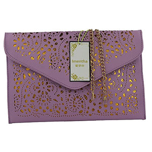 Women Perforated Cut Out Pattern Gold Accent Background Chain Pouch Fashion Clutch Handbag Wedding Party Purses Envelope Evening Day Clutch Bag For Women Ladies 2018 taro purple