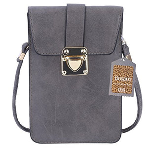 a4fd978f2e59 Bosam Matte Leather Roomy Cell Phone shoulder Bag Small Crossbody Wallet  case for Phone (Grey)