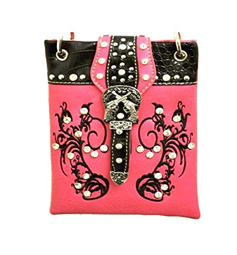 "Small Crossover Purse for Women - PISTOL, Fashion Shoulder Bag - FUCHSIA, 6"" X 8"" X 1"""