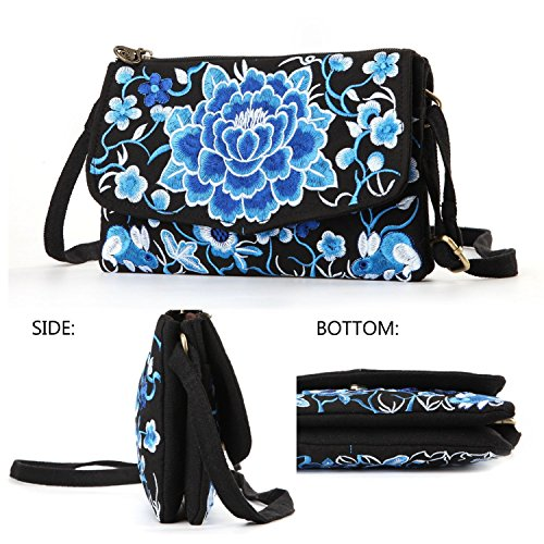 Goodhan Vintage Printed Handmade Women Mini Crossbody Bag Cellphone Pouch Small Handbag Coin Purse (S04: Bigger - Blue flower)