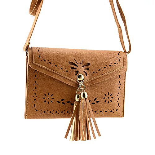 Bausweety Women Small Crossbody Hollow Bag Vintage PU Leather Portable Cell Phone Purse