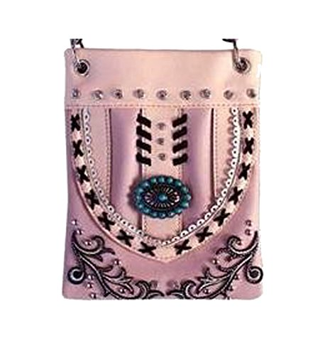 "Crossbody Purse for Ladies - TURQUOISE BLING, Small Crossover Designer Pouch - PINK, 6"" x 8"" x 1"""