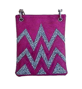 "Over the Body Purse for Ladies - CHEVRON, Fashion Shoulder Bag - FUCHSIA, 6"" x 8"" x 1"""
