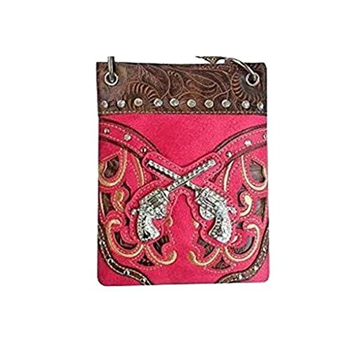 "Crossbody Bags for Women - GUN LASER CUT, Fashion Handbags - FUCHSIA, 6"" x 8"" x 1"""