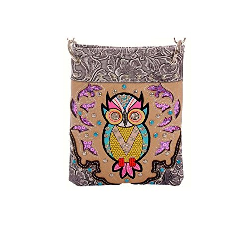 "Crossbody Handbags for Women - OWL, Small Crossover Designer Pouch - PEWTER, 6"" x 8"" x 1"""