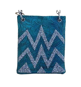 "Over the Body Purse for Ladies - CHEVRON, Fashion Shoulder Bag - TURQ, 6"" x 8"" x 1"""