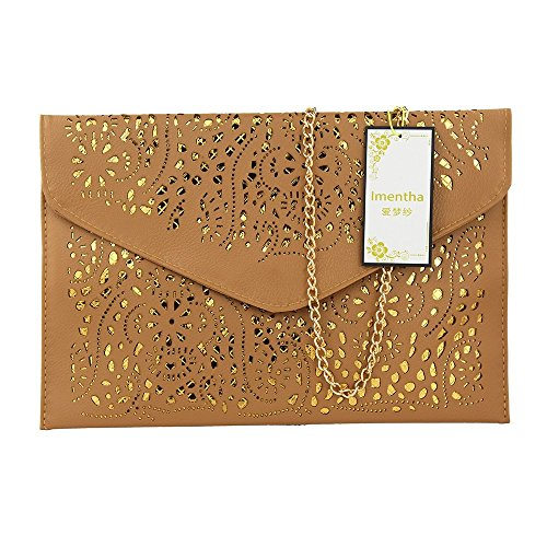 Women Perforated Cut Out Pattern Gold Accent Background Chain Pouch Fashion Clutch Handbag Wedding Party Purses Envelope Evening Day Clutch Bag For Women Ladies 2018 dark khaki