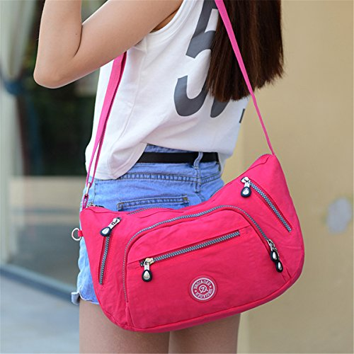 TianHengYi Cute Women's Water Resistant Dumpling Shape Nylon Cross-body Shoulder Bag with Zipper Pockets Pink Floral