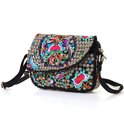Goodhan Vintage Printed Handmade Women Mini Crossbody Bag Cellphone Pouch Small Handbag Coin Purse (Style 08: BIGGER VERSION - Red Multicolor)