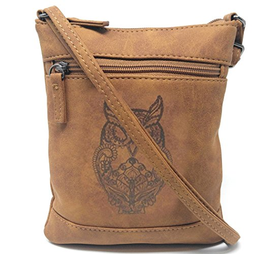 Small Faux Leather Owl Crossbody Bag, Long Strap Distressed Messenger Side Purse (Brown)