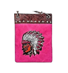 "Over the Body Purse for Ladies - INDIAN, Fashion Shoulder Bag - FUCHSIA, 6"" x 8"" x 1"""