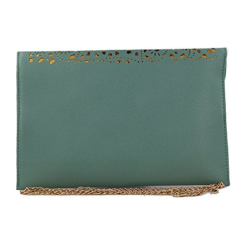 Women Perforated Cut Out Pattern Gold Accent Background Chain Pouch Fashion Clutch Handbag Wedding Party Purses Envelope Evening Day Clutch Bag for Women Ladies 2018 (Light Green)