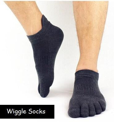 Wiggle Socks: Unisex Toe Socks, Toe Separator Socks, Five Finger Socks, 5 Toe Socks, 5 Finger Socks, Toe Shoe Socks: Light Black