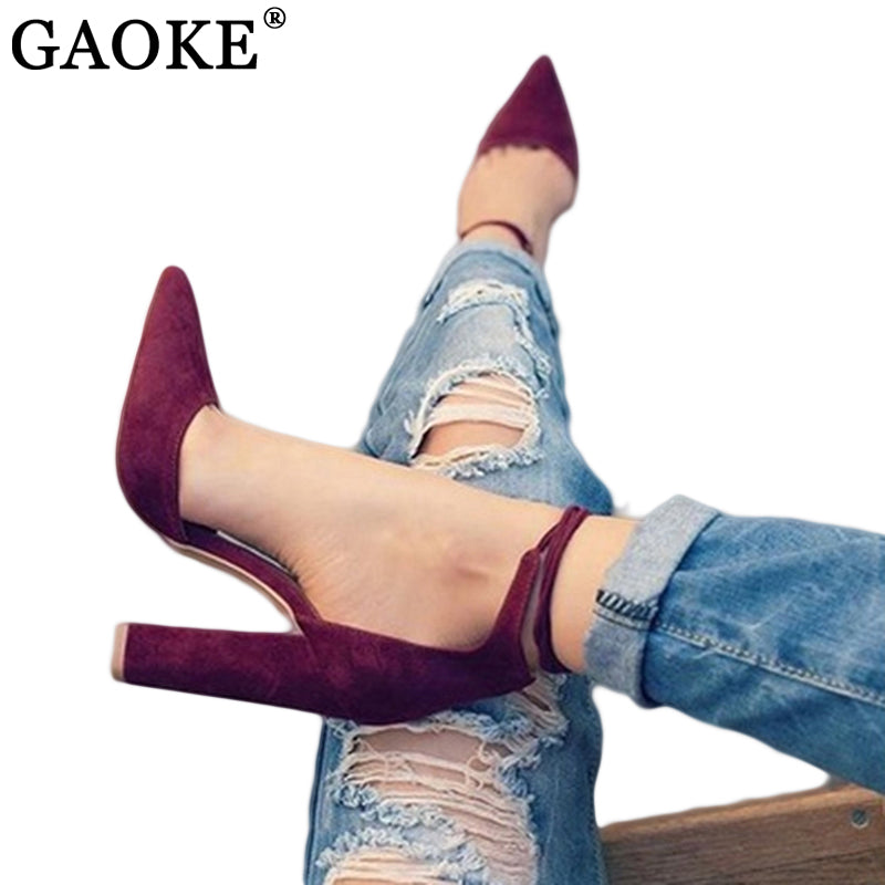 6 Colors Pointed Strappy Pumps Sexy Retro High Thick Heels Shoes 2108 New Woman Shoes Female Lace Up Shoes