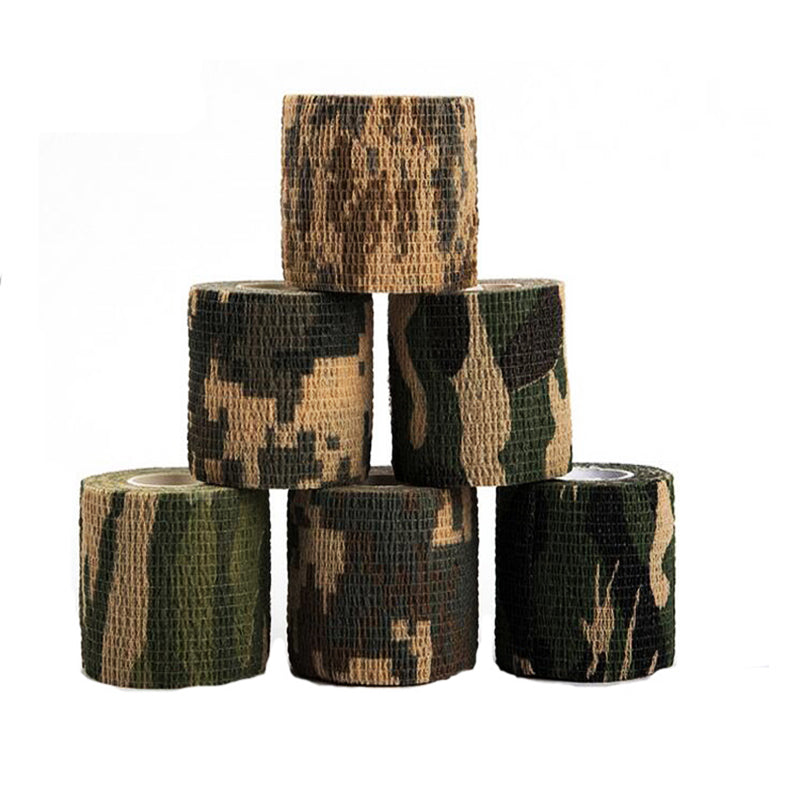 6 Rolls Self-adhesive Non-woven 5cmx4.5m Camouflage Wrap Rifle Hunting Shooting Cycling Tape Waterproof Camo Stealth Tape