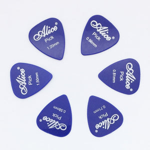 6 pieces Alice Guitar Picks in 1 Color Full Thickness 0.58 0.71 0.81 0.96 1.2 1.5 mm Black/White/Yellow/Red/Green/Blue/Orange