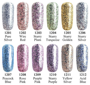 #60752 2017 New CANNI supply nail art Venalisa 12ml 12 color supper diamond shining glitter sequins starry platinum paint gel