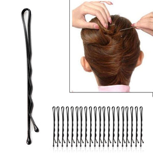 60Pcs/Set Women Lady Girl Black Metal Waved Hair Bobby Clip Salon Pin Grip Hairpin Barrette Hair Styling Accessories Tools