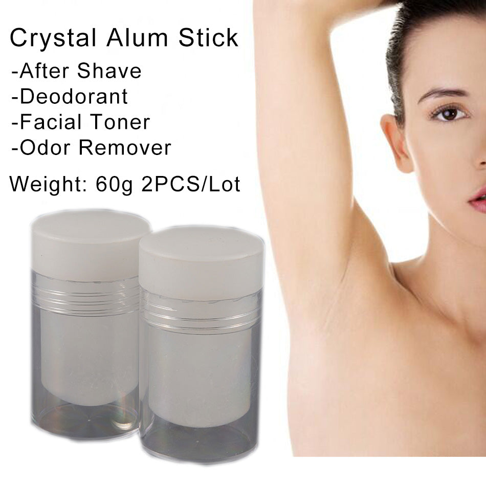 60g 2pcs Natural Crystal Deodorant Alum Stick Body Odor Remover Antiperspirant Potassium Alum Stone Stick Twist Top After Shave
