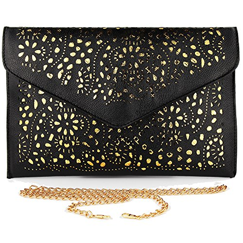 Ladies Evening Clutch Bags Wedding Clutch Purse Party Chain Envelope Handbags for Women Black
