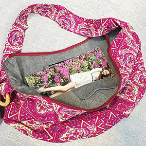 KARRESLY Large Bohemian Hippie Thai Top Zip Handmade Hobo Sling Crossbody Bag Purse Paisley Print with Adjustable Strap(16-616)