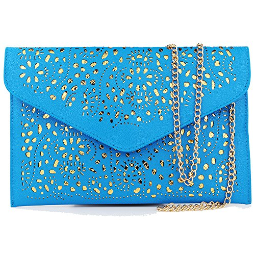 Women Perforated Cut Out Pattern Gold Accent Background Chain Pouch Fashion Clutch Handbag Wedding Party Purses Envelope Evening Day Clutch Bag For Women Ladies 2018 blue
