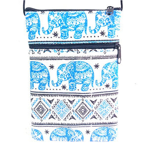Thai Elephant Crossbody Bag Hmong Hill Tribe Hippy EB2 (Light Blue)