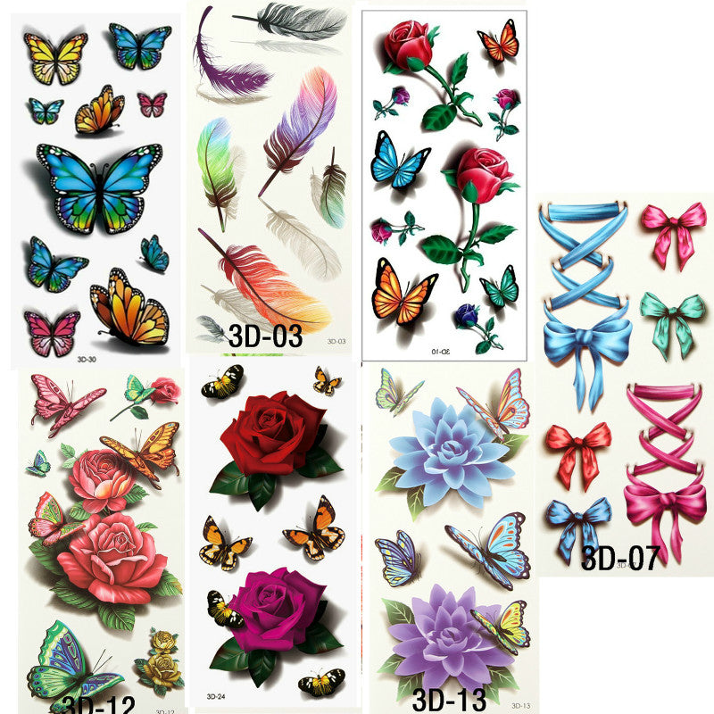 7PCS Beautiful Cute Water Transfer Tattoos Body Art Makeup Cool 3D Waterproof Temporary Tattoo Stickers For Girls Man Tatouage