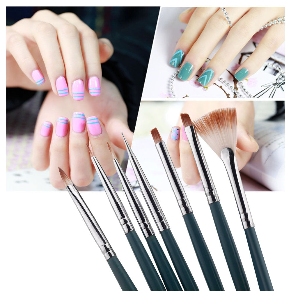 7pcs/Set DIY Professional Nail Art Brush Design Painting Tool Pen Polish Brush Set Gel UV Nail Print Brushes Kit