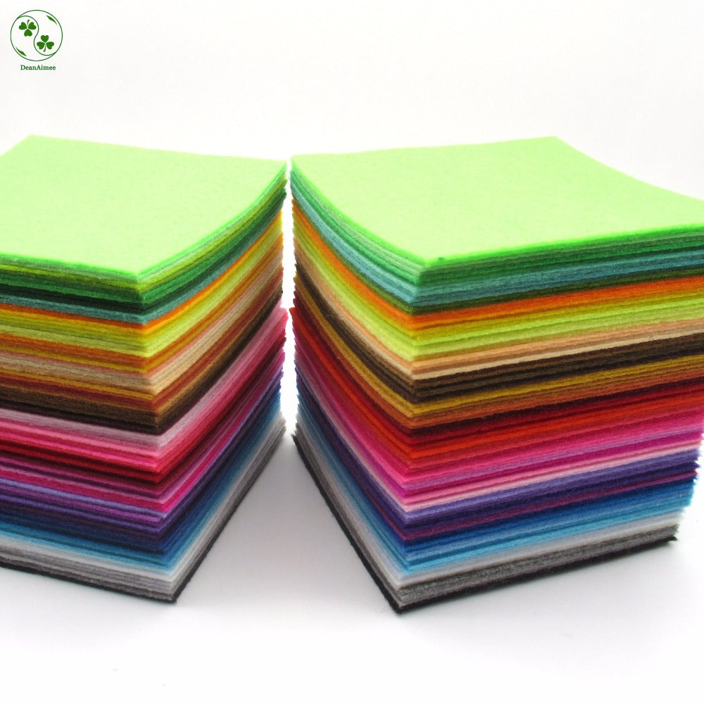88 Colors/Lot 10X10CM Felt Fabric Polyester 1 MM Thick Non-woven Felt Handmade Fabric DIY Nonwoven Cloth