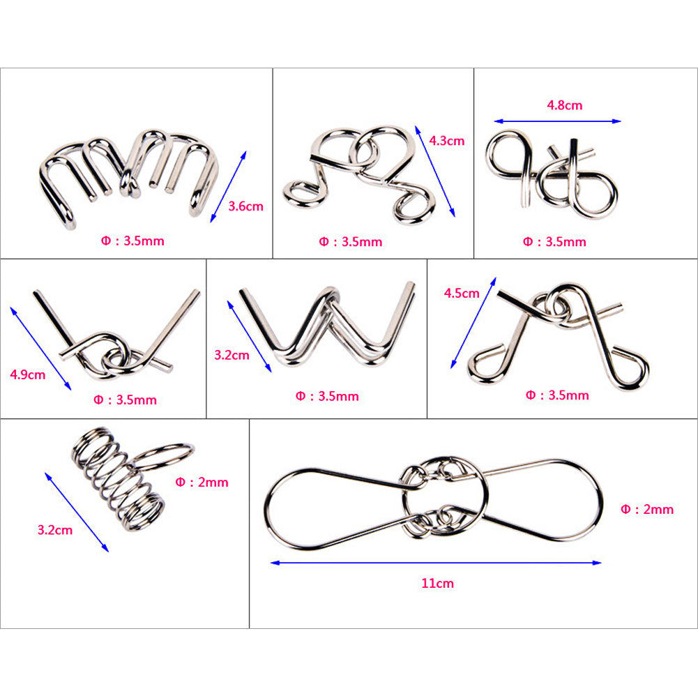 8PCS/Set Metal Wire Puzzle IQ Mind Brain Teaser Puzzles Game for Adults Children Kids Early Educational Toys