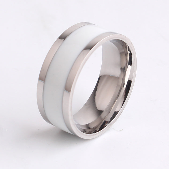 8mm White Drip oil stripe 316l Stainless Steel finger rings for men wholesale jewelry