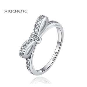 925 Sterling Silver Bow Butterfly Rings Lovely Bowknot Crystal For Women Wedding Party Pandora Ring R21