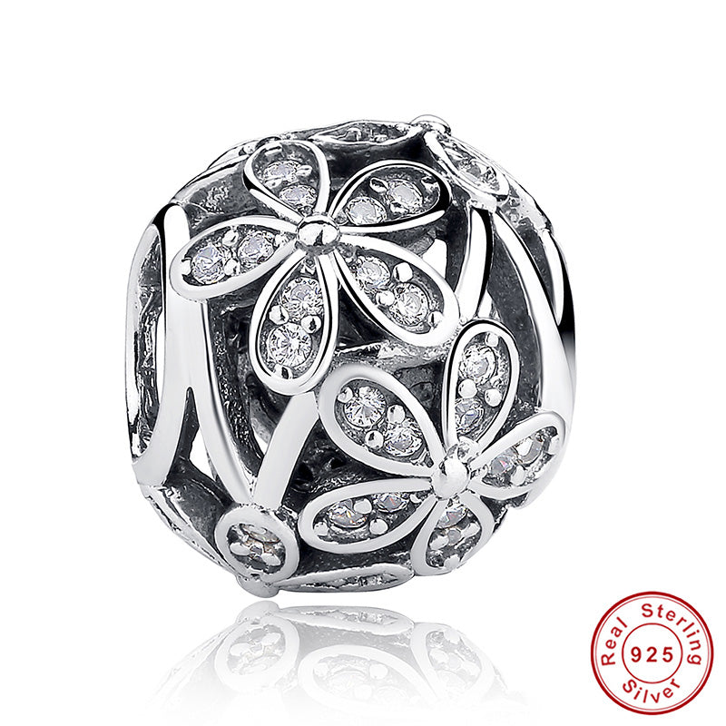 925 Sterling Silver Love All Around CZ Beads Fit Pandora Charm Silver 925 Bracelet Beads & Jewelry Making WEUS065