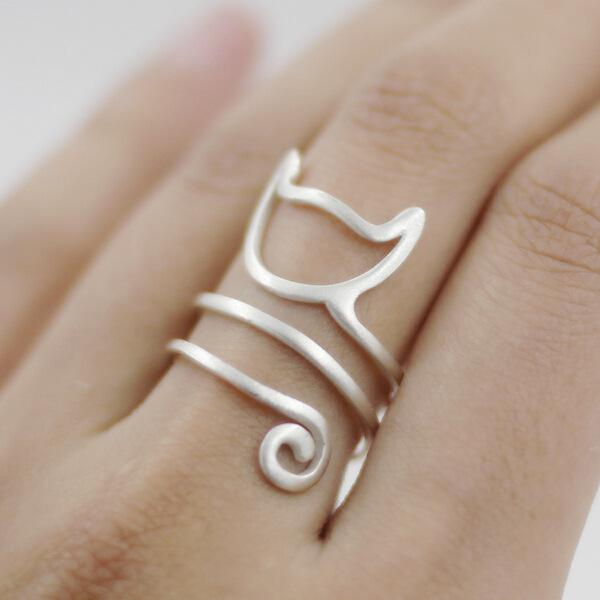 925 Sterling Silver Winding Cat Open Rings For Women Handmade Original Fashion Girl Prevent Allergy Sterling-silver-jewelry