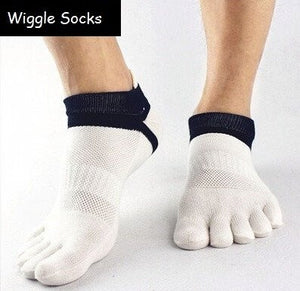 Wiggle Socks: Unisex Toe Socks, Toe Separator Socks, Five Finger Socks, 5 Toe Socks, 5 Finger Socks, Toe Shoe Socks: White Black