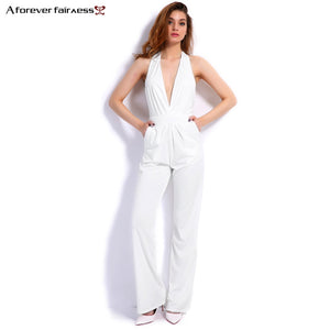 A Forever 2017 New Fashion Women Jumpsuit Sleeveless Hollow Out Backless Elegant Sexy Jumpsuit Slim Regular Long Jumpsuits M-276